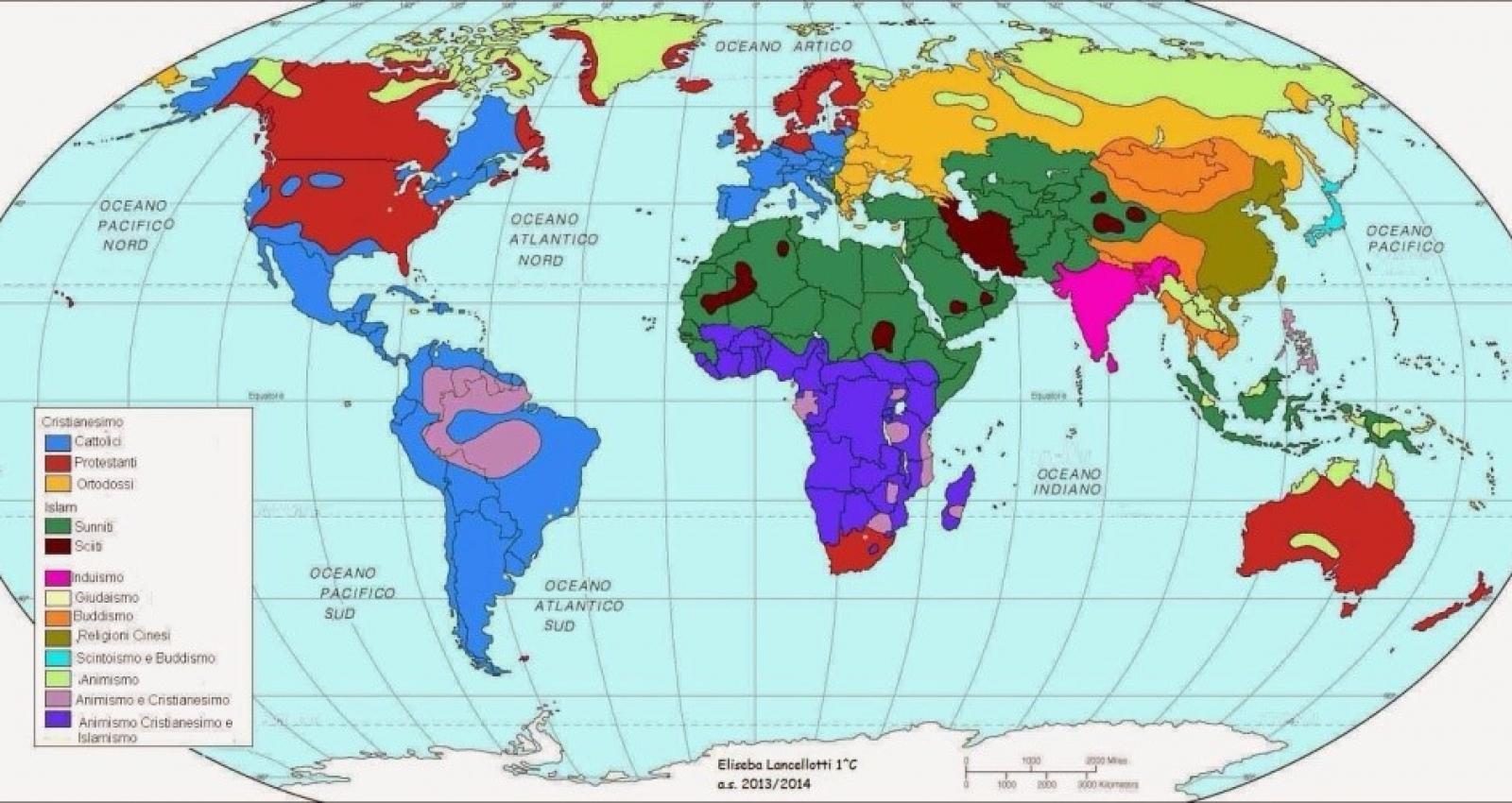 La attuale distribuzione delle Religioni nel Mondo
